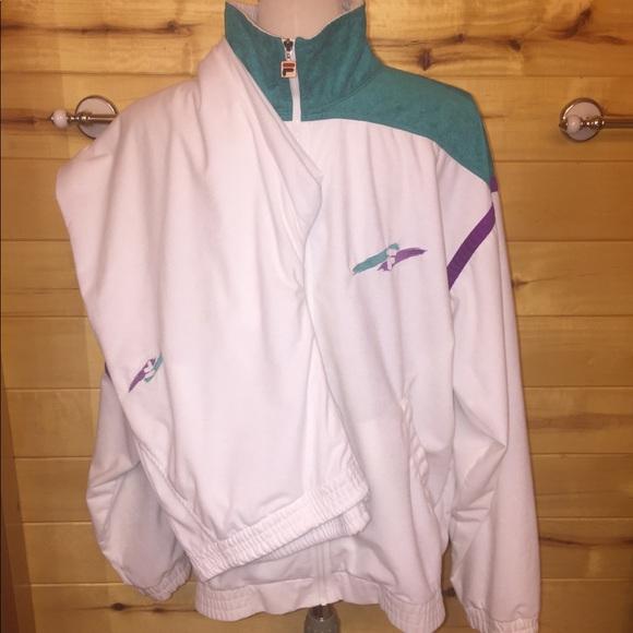 bfa9b87e83f4 Fila Jackets & Coats | Mens Vtg 80s White Velour Track Suit Xxl ...